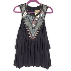 Free People   Women's Embroidered Tank Blouse Sz L